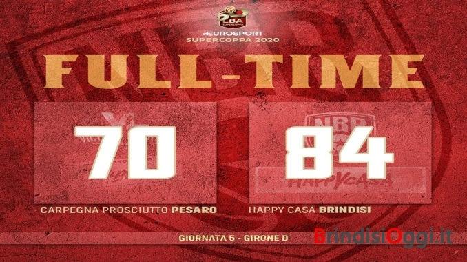 Basket, la VL Pesaro cade contro Brindisi - Pesaro